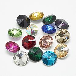 Cabochons en verre avec strass de dos avec point, rivoli strass, facette, cône, couleur mixte, 10x5mm(RGLA-T086-10mm)