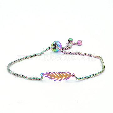 """Bracelets réglables en 201 acier inoxydable, bracelets bolo, avec des chaînes de boîte, plume, multicolore, 9-7/8"""" (25 cm)(STAS-S105-JN659)"""