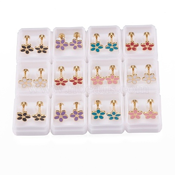 304 Stainless Steel Ear Fake Plugs Gauges, with Enamel, Flower, Golden, Mixed Color, 10mm, Pin: 1mm(EJEW-H105-04)