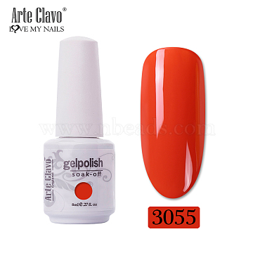 8ml Special Nail Gel, for Nail Art Stamping Print, Varnish Manicure Starter Kit, Orange Red, Bottle: 25x66mm(MRMJ-P006-H050)