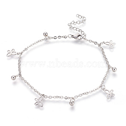 304 Stainless Steel Charm Anklets, Butterfly and Round, Stainless Steel Color, 9-1/4 inches(23.5cm); 2mm(AJEW-O028-04P)