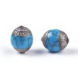 тибетские шарики типа, с латунным, синтетические бирюзовые, овальный, Старинное серебро, lightskyblue, 18~20x15~16 mm, отверстия: 1.4 mm(TIBEB-E079-07A)