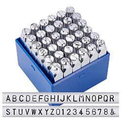 Timbres de sceau de fer, y compris la lettre a ~ z, numéro 0~8 et esperluette &, platine, 74x12.5x12.5 mm; 36 pcs / boîte(AJEW-BC0005-23)