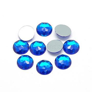 Acrylic Rhinestone Flat Back Cabochons, Faceted, Buttom Silver Plated, Half Round/Dome, Blue, 25x5.5mm(GACR-Q008-25mm-11)