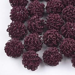 Perles de fil de fer environnementales peintes par pulvérisation, rond, DarkRed, 16~17mm(IFIN-T009-09D)
