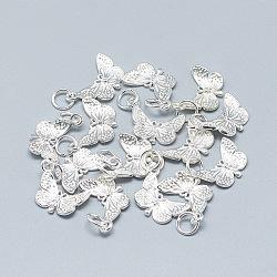 Pendentifs en 925 argent sterling, sculpté 925, avec anneau de jonction, papillon, argenterie, 16x12x2mm, Trou: 4mm(STER-T002-74S)