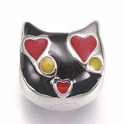Perles en 304 acier inoxydable, avec l'émail, Perles avec un grand trou   , chat, couleur inoxydable, noir, 12x12x11mm, Trou: 5.5mm(STAS-F195-049P-04A)