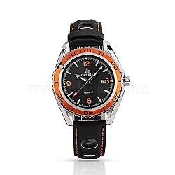 Нержавеющая сталь высокого качества кожа наручные часы, кварцевые часы, чёрные, 260x17~20 мм; головка часы: 45x52x13.5 мм(WACH-A002-21)