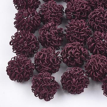 Spray Painted Environmental Iron Wire Beads, Round, DarkRed, 16~17mm(IFIN-T009-09D)