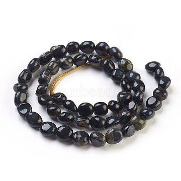 6mm Black Nuggets Tiger Eye Beads