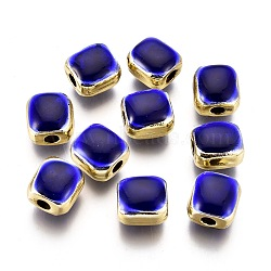 Alloy Enamel Beads, Lead Free & Cadmium Free, Squarre, Light Gold, Blue, 9x8.5x7mm, Hole: 2.5mm(ENAM-F139--11LG-RS)