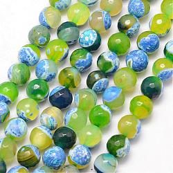 Natural Fire Agate Bead Strands, Round, Grade A, Faceted, Dyed & Heated, GreenYellow, 6mm, Hole: 1mm; about 61pcs/strand, 15inches