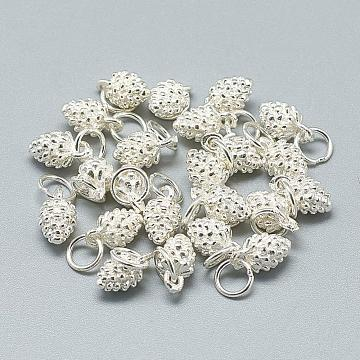925 Sterling Silver Charms, with Jump Ring, Pine Cone, Silver, 10x5.5x5.5mm, Hole: 4mm(X-STER-T002-297S)
