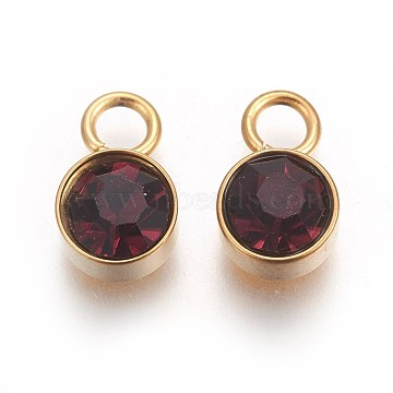 Glass Rhinestone Charms, February Birthstone Charms, with Golden Tone 304 Stainless Steel Findings, Flat Round, Garnet, 10x6x5mm, Hole: 2mm(X-STAS-F189-B05)