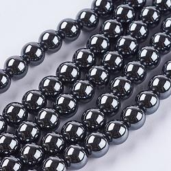 """Немагнитные синтетический гематит бисер пряди, класс А, круглые, серые, 8 мм, Отверстие : 1 мм; около 50 шт / нитка, 15.5""""(X-G-Q892-8mm)"""