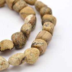 Chapelets de perle en jaspe avec images naturelles, 5~7mm, trou: 5~7 mm; environ 1(G-P070-19)