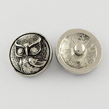 32L(20mm) Platinum Flat Round Alloy + Rhinestone Button