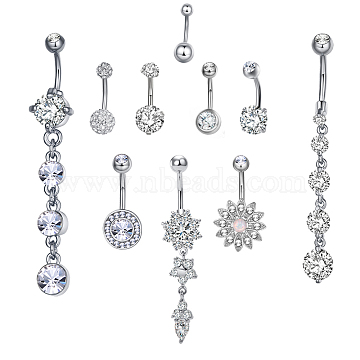 Brass Piercing Jewelry, Belly Rings, with Glass Rhinestone, Mixed Shapes, Platinum, 21~64mm; Pin: 10~14x1.5mm(AJEW-EE0006-81P)