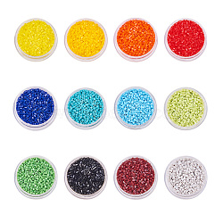 MGB&reg Matsuno Glass Beads, Japanese Seed Beads, 11/0 Opaque Round Hole Glass Seed Beads, Two Cut, Hexagon, Mixed Color, 2x2x2mm, Hole: 0.8mm, about 1500pcs/color, 18000pcs/set(SEED-BC0001-06)