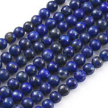 Natural Lapis Lazuli Beads Strands, Round, 3mm, Hole: 0.6mm; about 116pcs/strand, 15.4inches(39.3cm)(X-G-F662-04-3mm)