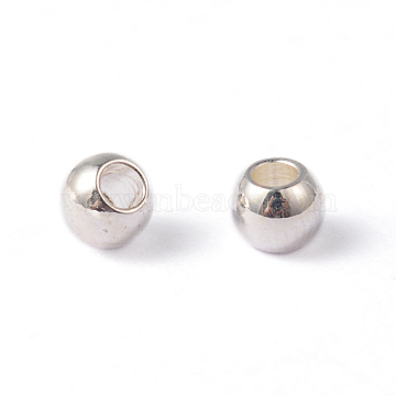 Round 304 Stainless Steel Beads, Silver Color Plated, 3mm, Hole: 1mm(X-STAS-O091-A-03S)