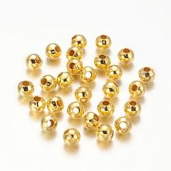 De fer ronde séparateurs perles, dorée, 5 mm de diamètre, Trou: 2mm(X-E146Y-G)