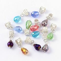 Perles européennes dangle, avec l'alliage, accessoires en laiton et en verre, goutte , de couleur métal argent, couleur mixte, taille:  Largeur environ 8mm, Longueur 29mm, Trou: 4.5mm(X-MPDL-H037)