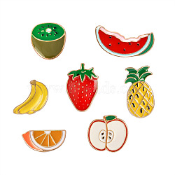 Creative Zinc Alloy Brooches, Enamel Lapel Pin, with Iron Butterfly Clutches, Kiwi Fruit & Strawberry & Pineapple & Watermelon & Banana & Apple & Orange, Golden, Mixed Color, 10~24x12~28mm; Pin: 1mm; 7pcs/set(JEWB-Q031-132)