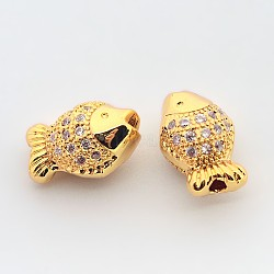 Brass Micro Pave Cubic Zirconia Beads, Cadmium Free & Nickel Free & Lead Free, Fish, Real 18K Gold Plated, 7x11x6mm, Hole: 1mm(ZIRC-N002-20G)