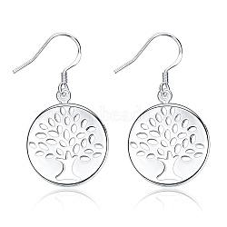 Boucles d'oreilles avec pendentif en laiton, arbre de la vie, argenterie, 36x19mm(EJEW-BB16881)