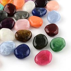 Perles acryliques imitation pierre précieuse, couleur mixte, 25x21x10mm, Trou: 2mm(X-OACR-R027-M)