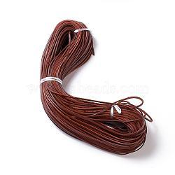 Cordon en cuir de vachette, cordon de bijoux en cuir , marron, environ 3 mm de large, épaisseur de 2mm(VL003)