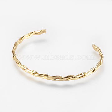 Brass Twisted Cuff Bangle, Real 18K Gold Plated, 2-1/8 inchesx2-1/2 inches(53x66mm)(X-BJEW-P168-F02)