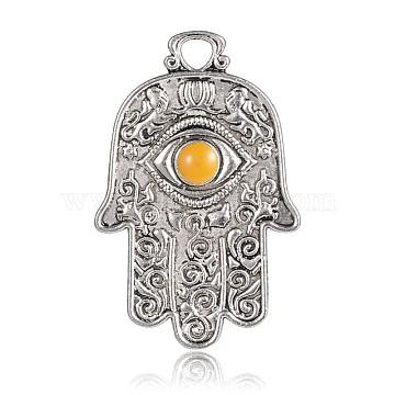 Antique Silver Plated Alloy Enamel Hamsa Hand/Hand of Fatima/Hand of Miriam with Eye Pendants, Goldenrod, 47x31x3mm, Hole: 4.5mm(ENAM-E290-03AS)