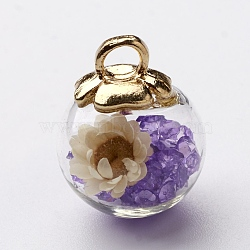 Pendentifs de boule en verre, avec des accessoires en plastique CCB, fleurs séchées au hasard et strass, Mediumpurple, 20x15.5mm, Trou: 3.5mm(GLAA-N0020-02C)