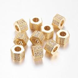 Perles de cubes zircone en laiton , hexagone, or, 8x10mm, Trou: 6.5mm(ZIRC-F001-124G)