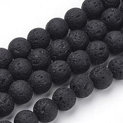 """Chapelets de perles de lave naturelle, teint, rond, noir, 8~8.5mm, trou: 1mm; environ 50 pcs/chapelet, 15.9"""" (40.3 cm)(X-G-S277-8mm-01)"""