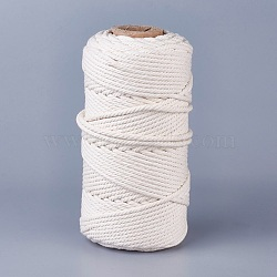 Cotton String Threads for Jewelry Making, Macrame Cord, Creamy White, 4mm; about 100m/roll(OCOR-WH0034-C-01)
