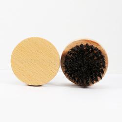 Natural Beech Beard Brush, with Black Boar Bristles, Men Beards Mustaches Care, Round, PapayaWhip, 63x35mm(MRMJ-S006-61-1)