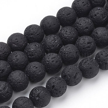 Synthetic Lava Rock Beads Strands, Dyed, Round, Black, 8~8.5mm, Hole: 1mm; about 50pcs/strand, 15.9 inches(40.3cm)(X-G-S277-8mm-01)