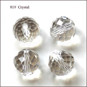 Imitation Austrian Crystal Beads, Grade AAA, Faceted, Teardrop, Clear, 6mm, Hole: 0.7~0.9mm(SWAR-F067-6mm-01)