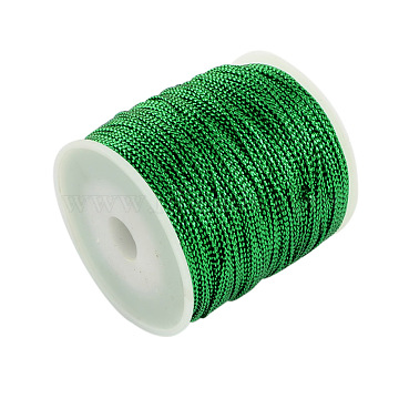 1mm Jewelry Braided Thread Metallic Cords, Polyester Cords, Green, 1mm, about 109.36 yards(100m)/roll(MCOR-S002-05)