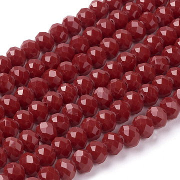 Imitation Jade Glass Bead Strands, Faceted, Rondelle, Crimson, 8x6mm, Hole: 1mm; about 68pcs/strand, 15.3 inches(X-GLAA-F001-8x6mm-18)