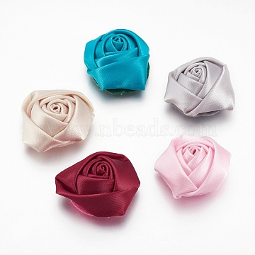 Handmade Cloth Fabric Covered Cabochons, Flower, Mixed Color, 29x29x14mm(X-WOVE-QS28-M)