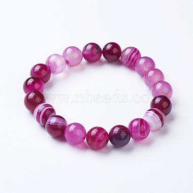 Bracelets extensibles avec perles en agate rayée naturelle/agate bandée(BJEW-I254-12mm-10)-1