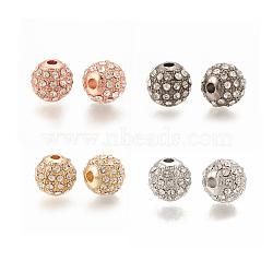 Perle d'alliage, avec strass, rond, cristal, couleur mixte, 8x8mm, Trou: 1.5mm(PALLOY-S066-02B-M)