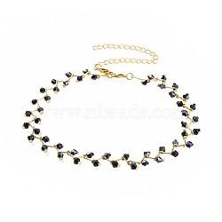 """Colliers ras du cou en perles de verre, avec fermoirs pince de homard en laiton et chaînes torsadées en fer, or, noir, 13.3"""" (33.8cm); 12mm(NJEW-JN02500-04)"""