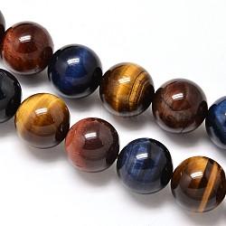 """Chapelets de perles d'œil de tigre naturel, Grade a, rond, 8mm, trou: 1mm; environ 50 pcs/chapelet, 15.7""""(G-F173-14-8mm)"""
