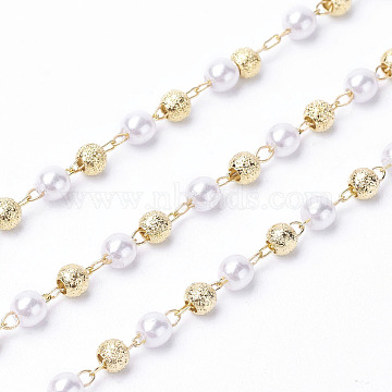Handmade Acrylic Beaded Chains, with Brass Findings, Long-Lasting Plated, Soldered, Golden, 3mm(X-KK-I651-02G)