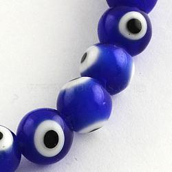 """Main ronde perles au chalumeau mauvais œil brins, bleu, 8mm, trou: 1mm; environ 48 pcs/chapelet, 13.7""""(X-LAMP-R114-8mm-02)"""